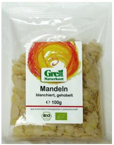 Mandeln blanchiert, gehackt geholbelt, 100 g